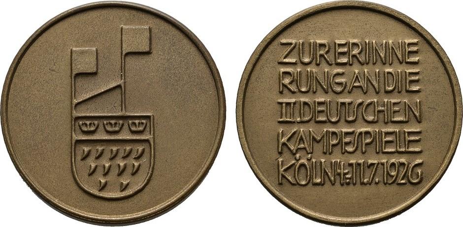Bronzemedaille 1926. KÖLN Mit Original Tüte, Fast Stempelglanz