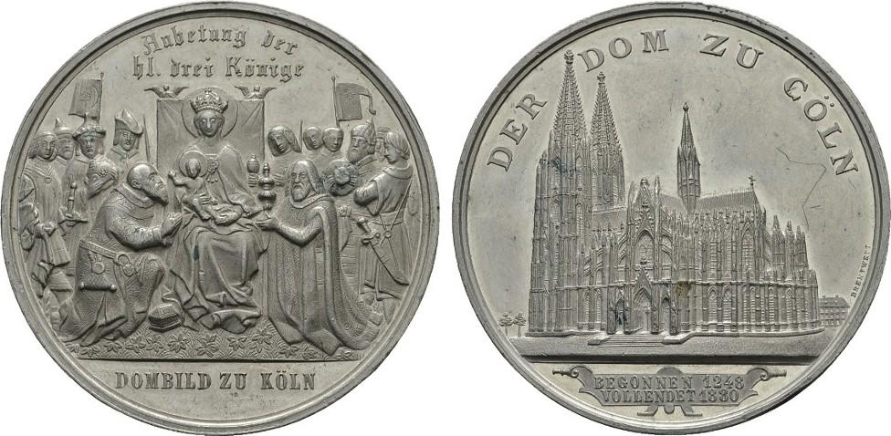 Zinnmedaille 1880 (v. Drentwett). KÖLN Vorzüglich +
