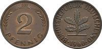 2 Pfennig 1960, J. BUNDESREPUBLIK DEUTSCHLAND  Bankfrisch  8,00 EUR  +  7,00 EUR shipping