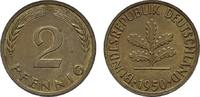 2 Pfennig 1950, J. BUNDESREPUBLIK DEUTSCHLAND  Bankfrisch  8,00 EUR  +  7,00 EUR shipping