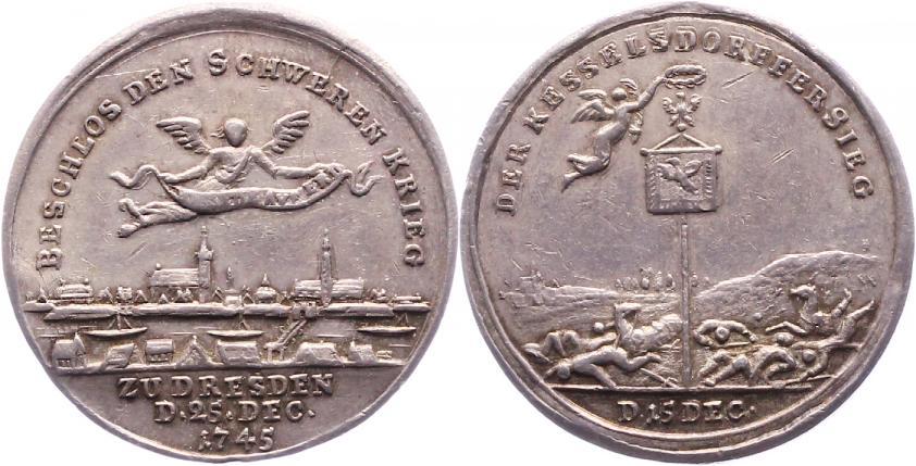 Silbermedaille 1745 Brandenburg-Preußen Friedrich II. 1740-1786. VF-EF