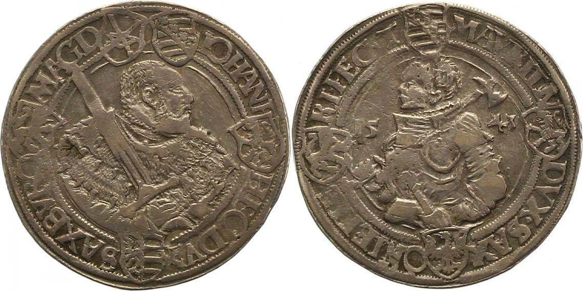Taler 1543 Sachsen-Kurfürstentum Johann Friedrich und Moritz 1541-1547. Winz. Schrötlingsfehler, sehr schön +