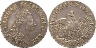 Taler 1786  A Brandenburg-Preußen Friedrich II. 1740-1786. Schöne Patina. Schrötlingsfehler, Kratze