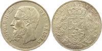 Belgien-Königreich 5 Francs Leopold II. 1865-1909.
