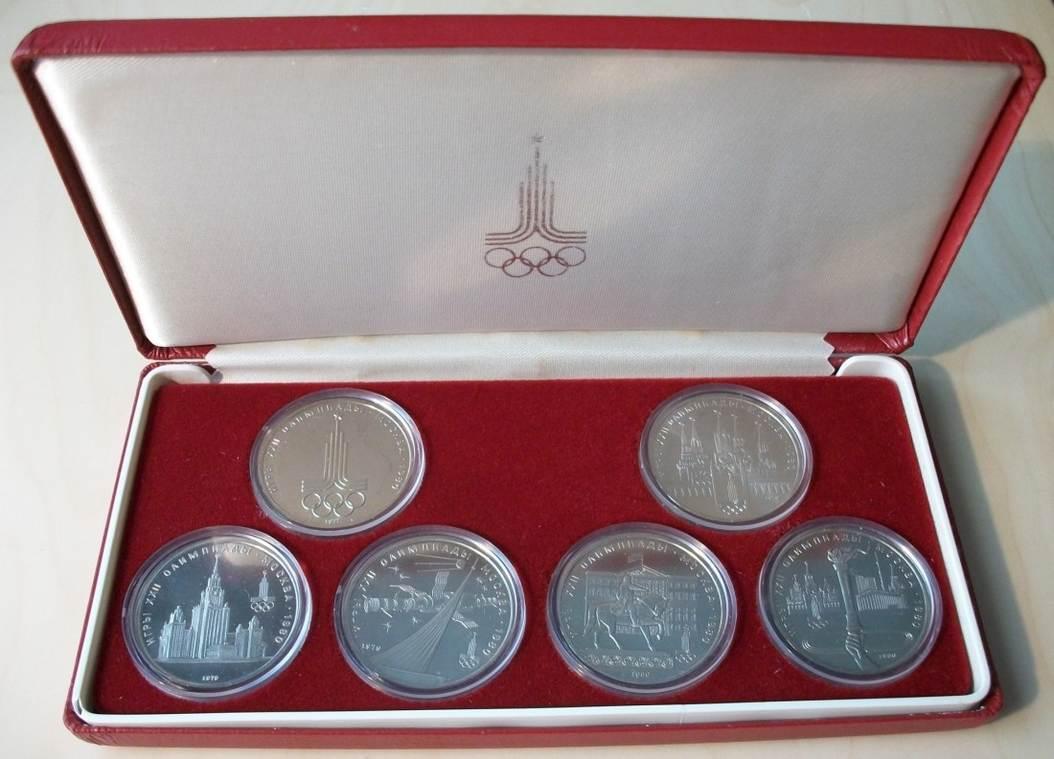 6 X 1 Rubel 1979 Russland Olympiade 1980 Moskau Schatulle