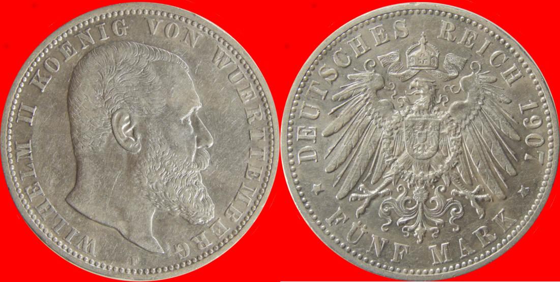 5 Mark 1907 F Kaiserreich Württemberg 4198ve97 Wilhelm Ii J