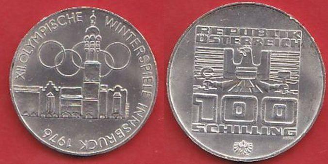 100 Schilling 1976 Oesterreich Winterolympiade Innsbruck Altstadt