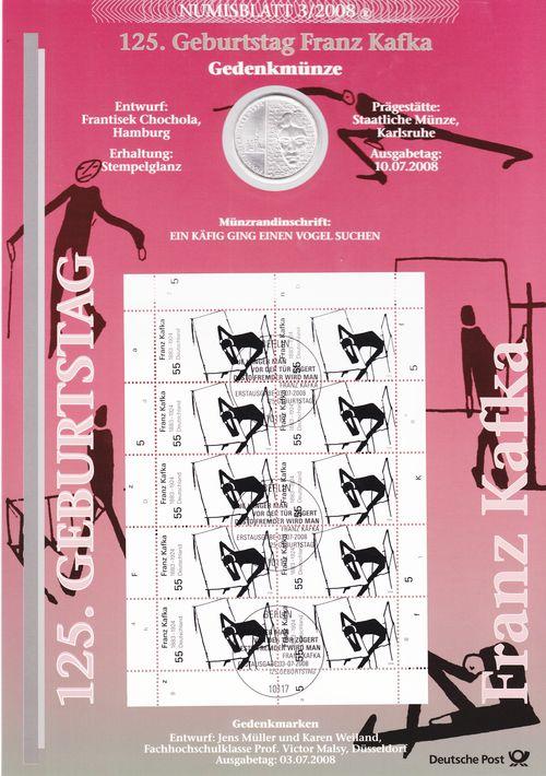 10 Euro 2008 Brd Numisblatt 32008 Franz Kafka Stempelglanz St Ma