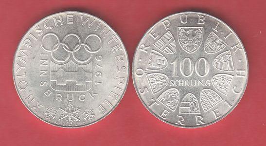 100 Schilling 1976 österreich Winterolympiade Innsbruck Emblem