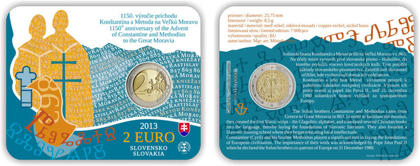 2 Euro COINCARD 2013 Slowakei Kyrill und Method COIN CARD unzirkuliert