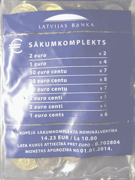14,23 EUR oder 10 Lats SOFORT LIEFERBAR 2014 Lettland - Latvija - Latvia Starterkit - Beutel mit 45 Münzen zusammen 10 Lats oder 14,23 EUR unzirkuliert ungeöffnet