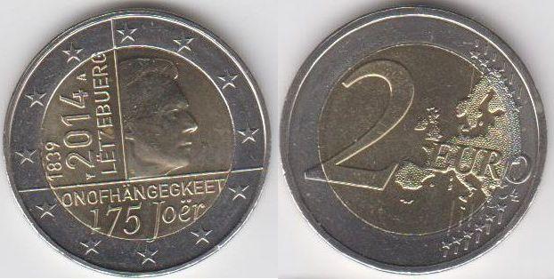 2 Euro 2014 Luxemburg Letzebuerg Luxembourg 2 Euro Münze 175
