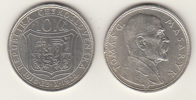 10 Kronen 1928 CSR - Tschechoslowakei Gedenkmünze Tomas G. Masaryk vzgl