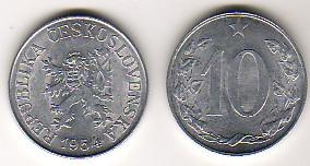 10 Heller 1956 R CSR/CSSR/CSFR - Tschechoslowakei Umlaufmünze 10 Heller altes Wappen sehr schön ++