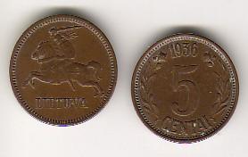 5 Centu 1936 Litauen - Lietuva - Lithuania Kursmünze sehr schön- fast vzgl.