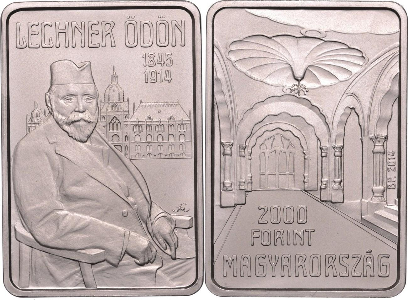2000 Forint 2014 Ungarn - Hungary - Magyaroszág 100. Todestag von Ödön Lechner unzirkuliert