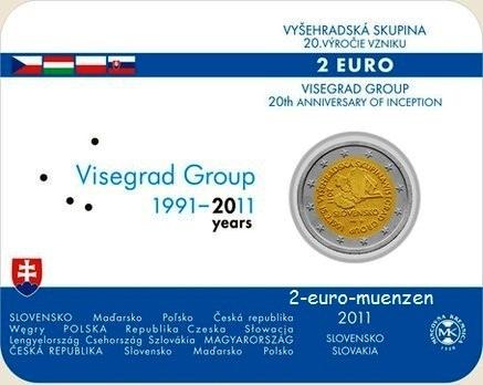 2 Euro COINCARD 2011 Slowakei 20 Jahre Visegrad Gruppe unzirkuliert