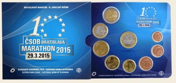 3,88 EUR Kurssatz 2015 Slowakei - Slovensko - Slovakia 10. Bratislava-Marathon am 29. 3. 2015 uncirculated - Stempelglanz