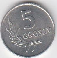 5 Groszy 1968 Polen - Polska - Poland Umlaufmünze Aluminium fast unzirkuliert RAR