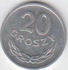 20 Groszy 1968 Polen - Polska - Poland Umlaufmünze vorzüglich f. unzirkuliert