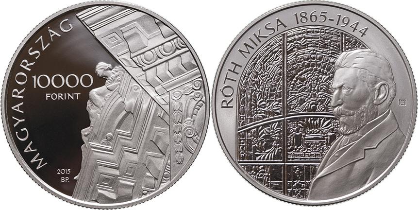 10000 Forint 2015 Ungarn - Hungary - Magyarorszag Miksa Roth (Glasmosaik-Künstler) und 110 Jahre Nationalbankgebäude Polierte Platte