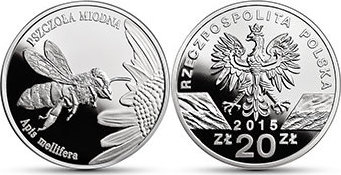 20 Zloty 2008 Polen - Poland - Polska Honigbiene (Apis mellifera) Polierte Patte PP