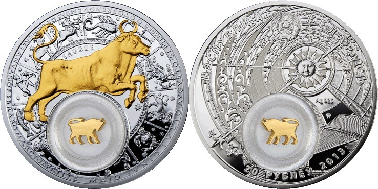 20 Rubel 2013 Weissrussland Belarus Tierkreiszeichzen: Taurus Stier Polierte Platte teilvergoldet