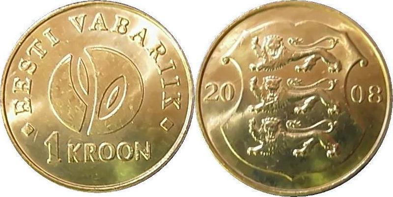 1 Kroon + 10 Krooni 2008 Estland - Estonia - Eesti 90 Jahre Estnische Republik unzirkuliert