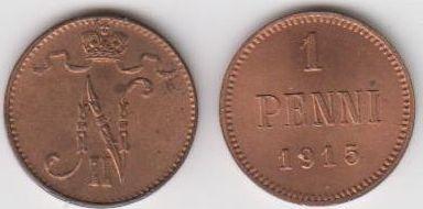 1 Penni Kupfer 1915 Finnland - Finland - Nikolaus II 1 Penni 1912 Umlaufmünze FINNLAND, noch russ. Fürstentzum Nikolaus II unzirkuliert und nicht geputzt, mit Resten von Stgl nach fast 100 J!!!