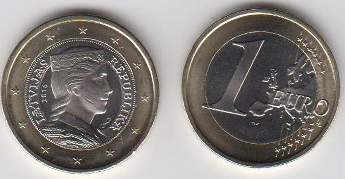 1 Euro 2016 Lettland Latvija Latvia Umlaufmünze 1 Euro 2016