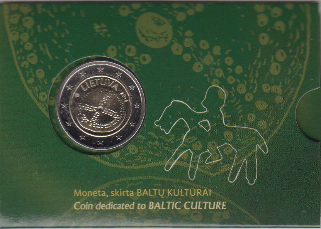 2 EUR Münukarte 2016 Litauen - Lietuva - Lithuania Baltische Kultur in Münzkarte nur 5000 Ex. BU Qualität nur 5000 Stück in Karte