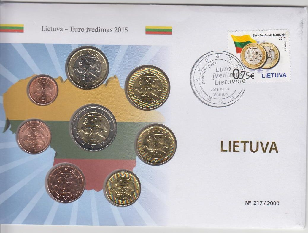 388 Euro Kurssatz Im Numisbrief 2015 Litauen Lietuva Lithuania