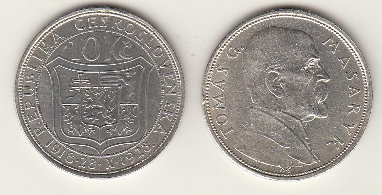 10 Kronen 1928 CSR - Tschechoslowakei Gedenkmünze Tomas G. Masaryk Stgl.