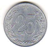 25 Heller 1953 CSR / CSSR / CSFR Tschechoslowakei Umlaufmünze altes CSR-Wappen Wappen sehr schön +