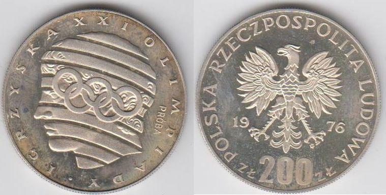 200 Zloty PROBE 1976 Polen - Polska - Poland Oly Montreal Kopf eines antiken Sportlers Polierte Patte