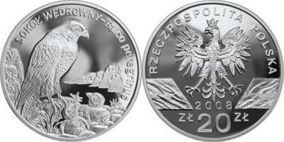 20 Zloty 2008 Polen - Poland - Polska Wanderfalke Polierte Patte PP