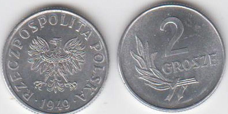 2 Grosze 1949 Polen - Polska - Poland Umlaufmünze Aluminium prägefrisch