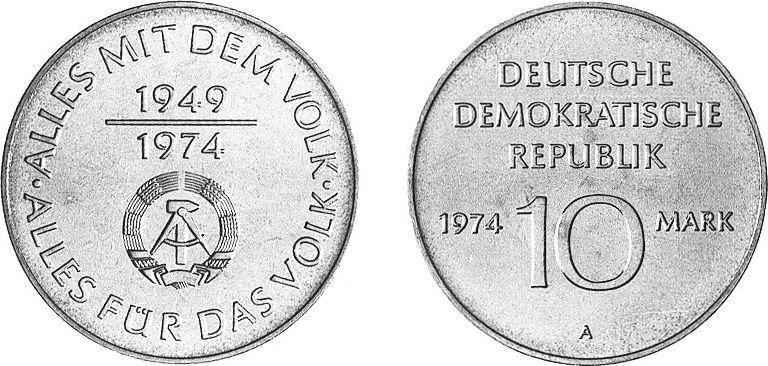 10 Mark 1974 Deutsche Demokratische Republik 25 Jahre Ddr Alles