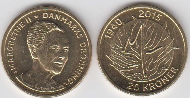 20 Kroner 2015 Dänemark - Danmark Königin Margrethe II. 75. Geburtstag unzirkuliert
