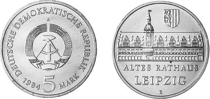 5 Mark 1984 Deutsche Demokratische Republik Altes Rathaus Leipzig unzirkuliert