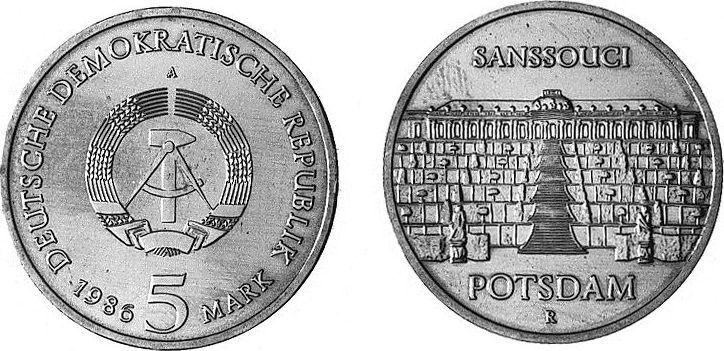 5 Mark 1986 Deutsche Demokratische Republik Schloß Sanssouci Potsdam - Residenz von Friedrich II. von Preußen unzirkuliert