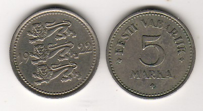 5 Marka 1922 Estland - Estonia Kursmünze fast vorzüglich