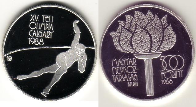 500 Forint 1986 Ungarn - Hungary Olympische Winterspiele 1988 - Calgary Polierte Platte