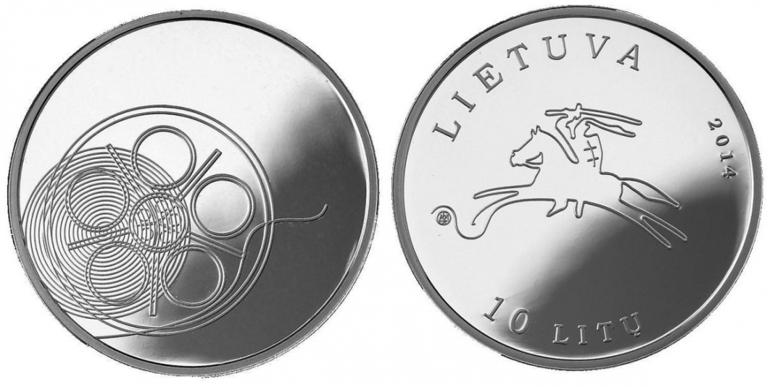 10 Litu mit Box 2014 Litauen - Lietuva - Lithuania Litauische Kultur (4. Ausgabe )- Filmkunst Polierte Platte PP