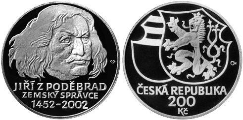 200 Kronen 2002 Tschechien - Czech Republic - Ceská republika Jiri von Poděbrad - 550. Jahrestag der Ernennung als Gouverneur in Böhmen Stempelglanz