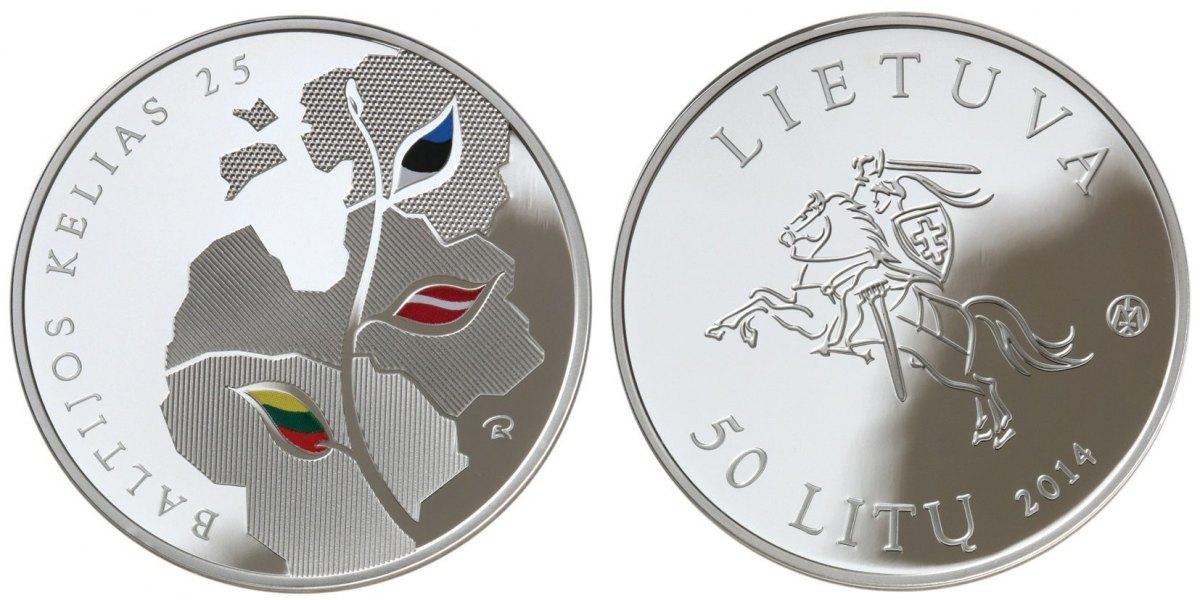 50 Litu 2014 Litauen - Lithuania - Lietuva 25 Jahre Baltischer Weg (Serie: Weg in die Unabhängkeit) FARBMÜNZE Polierte Platte PP