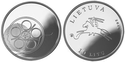 10 Litu 2014 Litauen - Lietuva - Lithuania Litauische Kultur (4. Ausgabe ) - Filmkunst Kino Polierte Platte PP