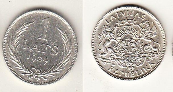 1 Lats 1924 1924 Lettland - Latvia - Latvija Umlaufmünze 1 Lats vorzüglich-fast unzirkuliert