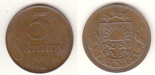 5 Santimi 1922 Lettland - Latvija - Latvia Umlaufmünze 5 Santimi vorzüglich (RAR)