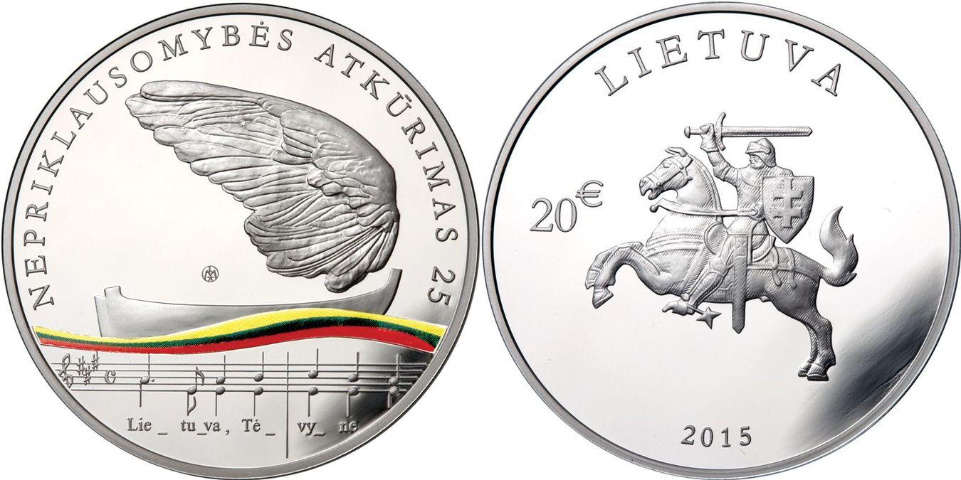20 Euro mit Cetificate+Box 2015 Litauen - Lietuva - Lithuania 25. Jahrestag WIedererlangung der Unabhängigkeit - Wege in die Unabhängigkeit Polierte Platte